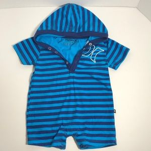 Hurley 3-6 M Blue Striped One Pc. Outfit